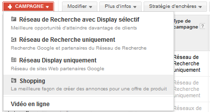 Google Shopping creation campagne