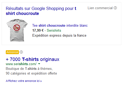 Tee-shirt choucroute Google Shopping