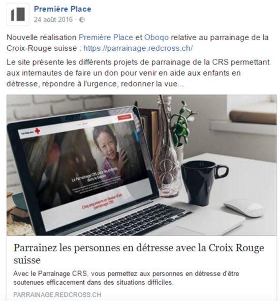 Post Facebook Première Place : site Croix-Rouge