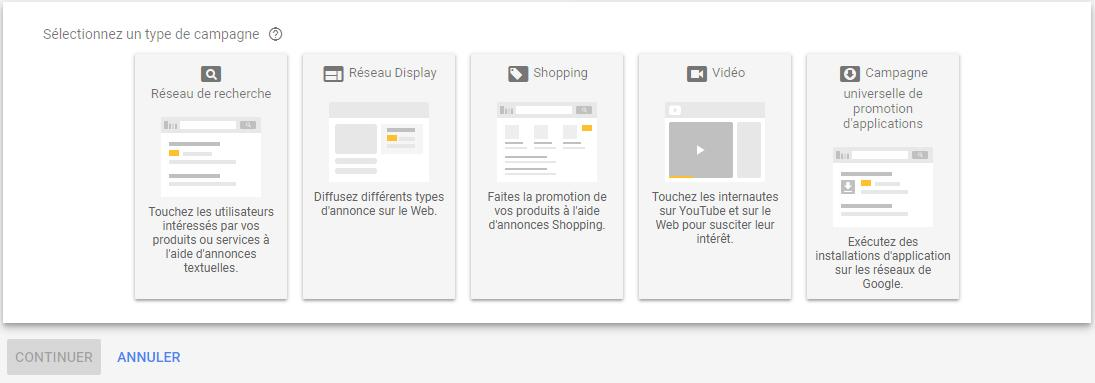 Campagne Search compte AdWords