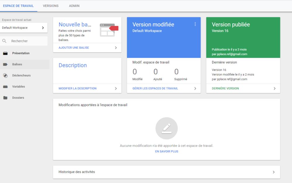 Le tableau de bord de Google Tag Manager