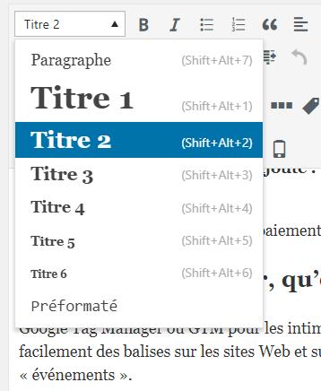 titres de niveau wordpress cms
